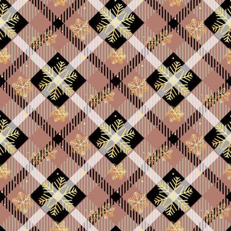 Golden snowflakes seamless on dark tartan fabric texture diagonal pattern seamless vector illustration Ilustración de vector