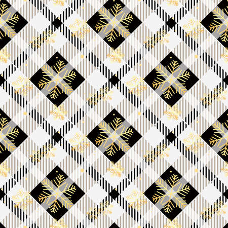 Plaid checkered tartan and golden snowflake seamless pattern in black and white colors. Vector