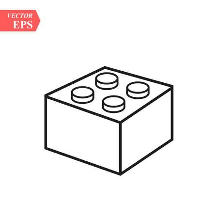 Legobaksteenblok of stuk lijnkunst vectorpictogram voor speelgoed-apps en websites eps10