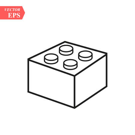 Lego brick block or piece line art vector icon for toy apps and websites eps10