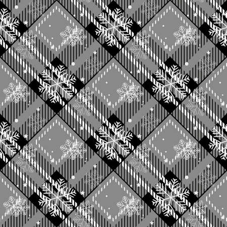 Plaid checkered tartan and snowflake seamless pattern in black and white colors. Vector Ilustración de vector