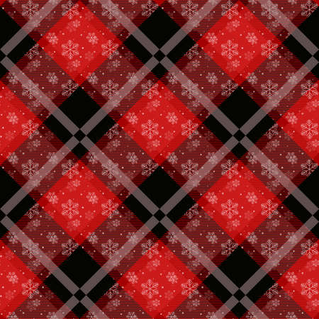 White snowflakes seamless with red tartan pattern. Winter white snow and plaid holidays collection. Vector illustration. eps10