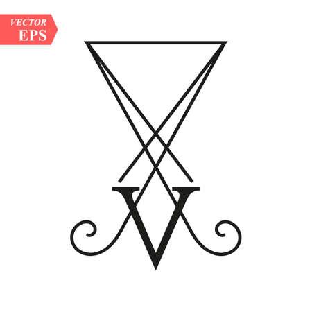 LUCIFER Light-bringing , sigil of Lucifer symbol on white background eps 10