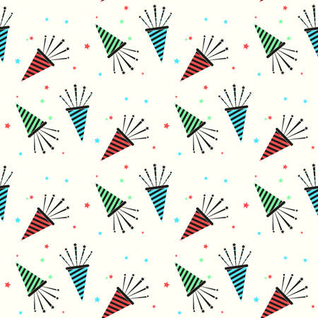 Christmas and New Year s trumpet seamless. colorful party horns vector pattern. eps10