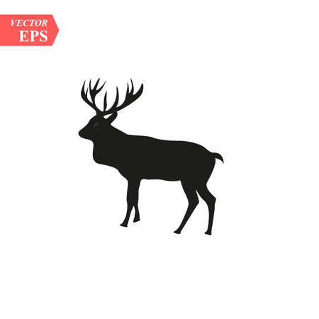 Beautiful noble proud sika deer are ruminant mammal in family Cervidae. Side view. Dark ink hand drawn picture sketchy in art retro style pen on paper with space for text eps10