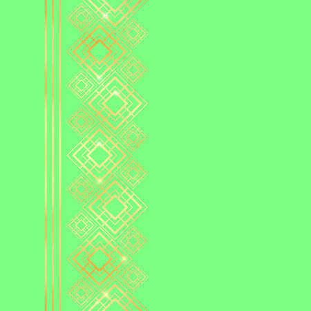 Golden frame in luxury style. Seamless border for design. Green and gold background. Noble card with place for text. Art Deco ornament.