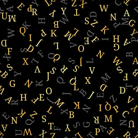 Seamless pattern with golden alphabet, , isolated on black background. Vector illustration, easy to edit. Illustration