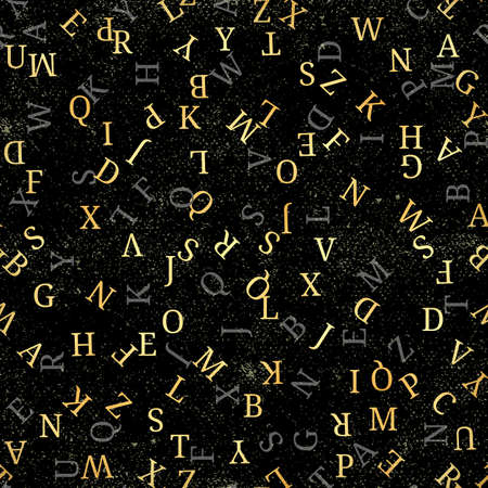 Seamless pattern with golden alphabet, , isolated on black background. Vector illustration, easy to edit.  イラスト・ベクター素材