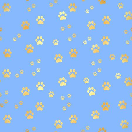Gold Paw print seamless pattern. Seamless pattern of animal gold footprints. Dog paw print seamless pattern on gold background