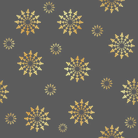 Gold Circular element made of squares seamless pattern. Gold Squares seamless rotating. Abstract monochrome design element seamless