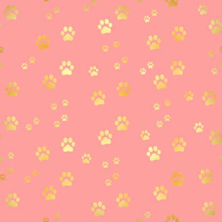 Gold Paw print seamless pattern. Seamless pattern of animal gold footprints. Dog paw print seamless pattern on gold background Vector Illustratie
