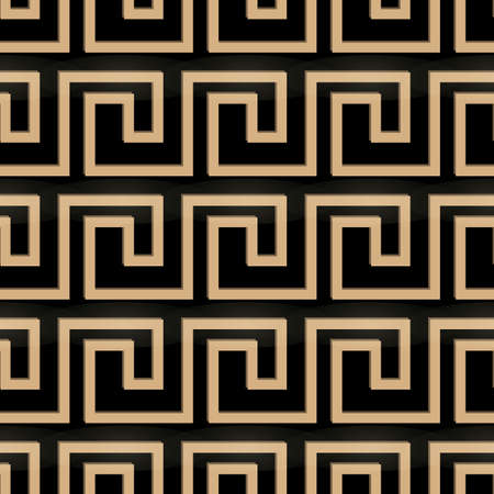 Seamless pattern meander ornament. Black and golden textile print. Greece vector design. Greek tiles eps10