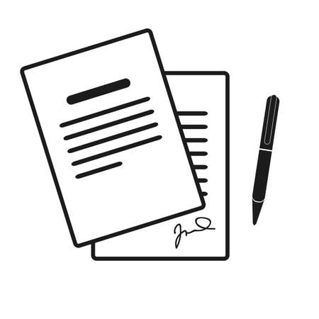 The contract icon. Agreement and signature, pact, accord, convention symbol. Flat Vector illustration eps10 Ilustração