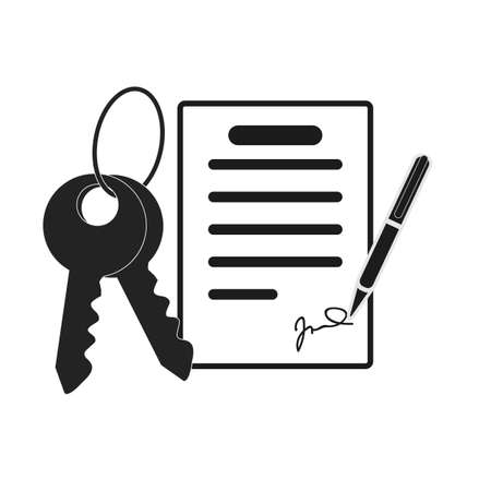 Vector Icon Style Illuetration Icon of Contract Sogning and Buying a Property, Real Estate, Hotel, Accommodation. Booking a Flat, House, Getting Keys eps10
