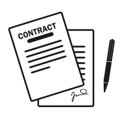 The contract icon. Agreement and signature, pact, accord, convention symbol. Flat Vector illustration eps10 Ilustrace