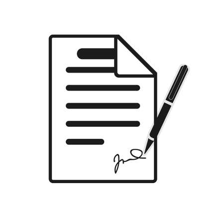 Signing contract icon. Report, letter, will. Deal concept. Can be used for topics like business, education, correspondence eps10 Ilustrace