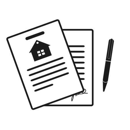 Icono de contrato de arrendamiento. Iconos profesionales con píxeles perfectos optimizados para resoluciones grandes y pequeñas. Formato EPS10.