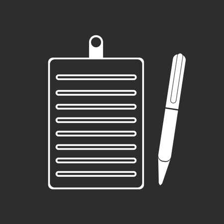 Icono de vector de lápiz de portapapeles. Ilustración en blanco aislado sobre fondo negro para diseño gráfico y web. eps 10
