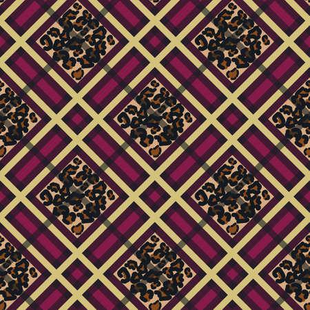 Scottish red tartan grunge seamless pattern with leopard spots Illusztráció