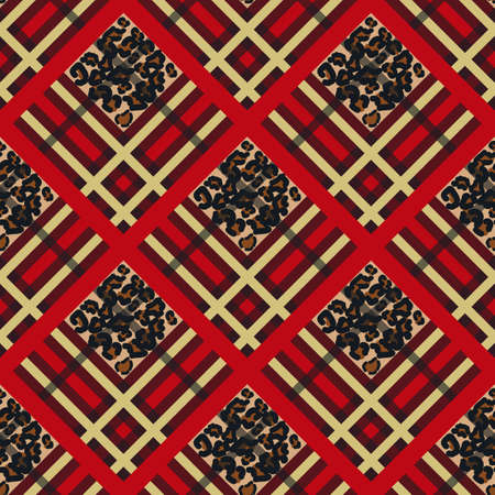 Scottish red tartan grunge seamless pattern with leopard spots Illustration