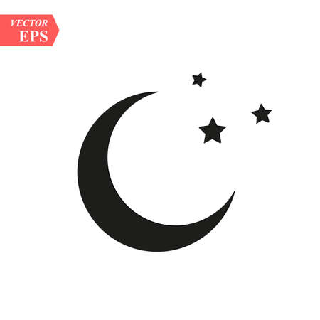 Moon and stars icon. Flat vector illustration in black on white background. EPS10