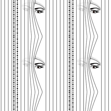 seamless pattern Woman hidden eyes looking through vertical venetian blinds