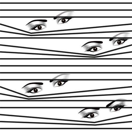 seamless pattern Woman hidden eyes looking through horizontal venetian blinds Ilustrace