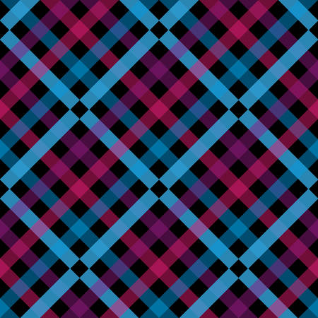 Seamless tartan plaid pattern. Checkered fabric texture print in shades of red, bright fuchsia, light teal green, pale cyan and blue.