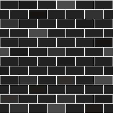 Black bricks wall. Decorative blocks wallpaper, interior background eps10