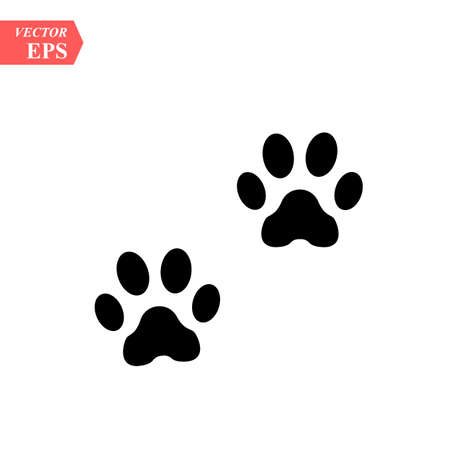 Paw Prints. Logo. Vector Illustration. Isolated vector Illustration. Black on White background. EPS Illustration. - Vector illustration