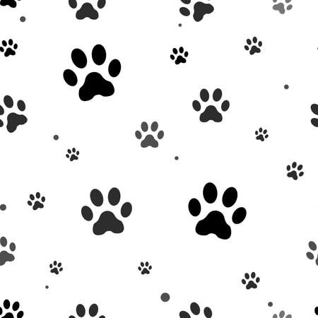 Paw print seamless. Traces of Cat Textile Pattern. Cat footprint seamless pattern. Vector seamless - eps10