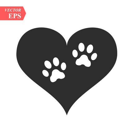 Vector of a white animal pawprint in a black heart on white background to be uses as a logo or illustration Vectores