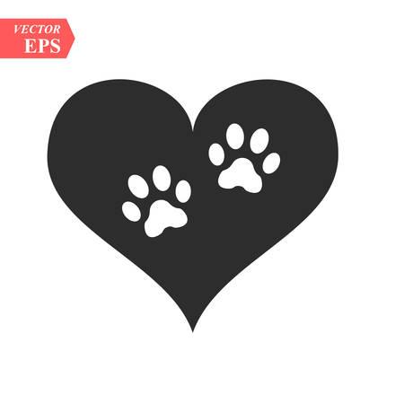 Vektor eines weißen Tierpfotenabdrucks in einem schwarzen Herzen auf weißem Hintergrund, der als Logo oder Illustration verwendet werden soll Logo