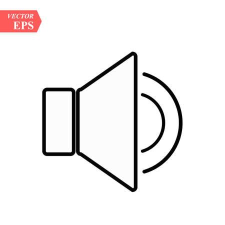 Audio speaker volume or music speaker volume on flat vector icon for apps and websites eps10 Ilustrace
