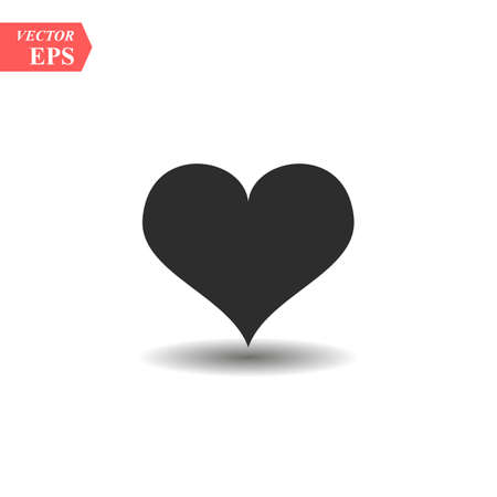 Heart Icon Vector. Perfect Love symbol. Valentine s Day sign, emblem isolated on white background with shadow, Flat style for graphic and web design, logo. EPS10 black pictogram. Ilustração
