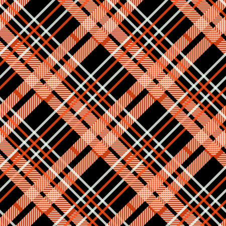 Seamless tartan plaid pattern. Traditional checkered fabric texture in palette of orange, yellow, red and black. eps10 Illustration