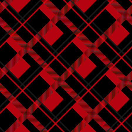 Red and Black Lumberjack plaid seamless pattern illustration eps 10 Çizim