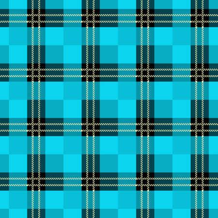 Seamless tartan plaid pattern. Checkered fabric texture print in dark grayish blue, navy, pale blue and white eps10