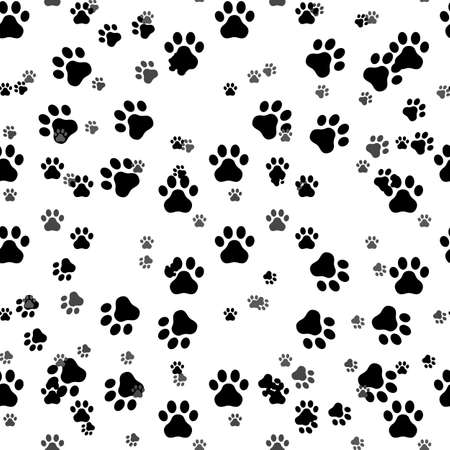 Paw print seamless. Traces of Cat Textile Pattern. Cat footprint seamless pattern. Vector seamless eps 10 Ilustrace