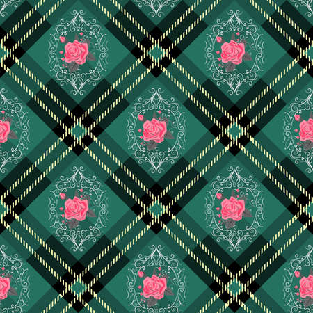 Green tartan plaid and flowers pattern on checkered background for textile eps10