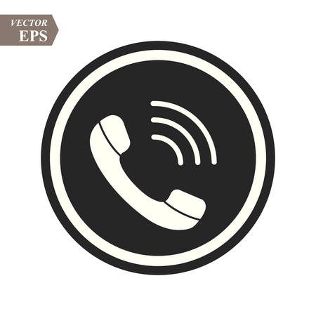 Phone icon in trendy flat style isolated on grey background. Handset icon with waves. Telephone symbol for your design, logo, UI. Vector illustration, EPS 10.