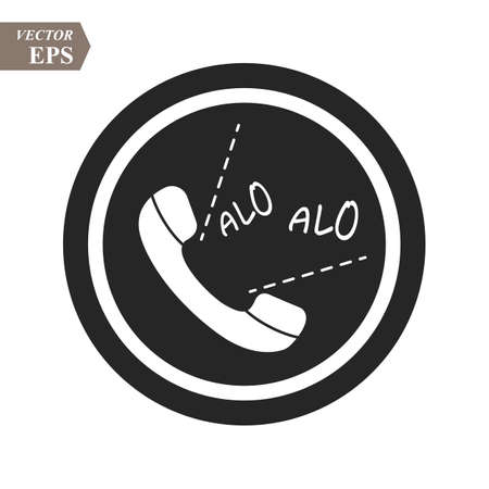 Phone alo icon in trendy flat style isolated on grey background. Handset icon with waves. Telephone symbol for your design, logo, UI. Vector illustration, EPS10.