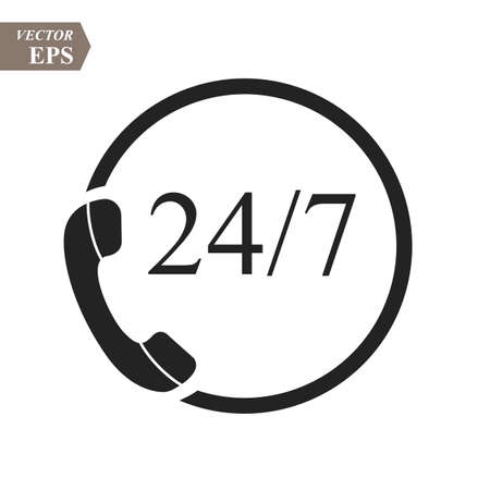 24 hour support call center icon. Steady available services. Twenty four hour everyday. Can use for service advertising. 24 7 icon. open 24 hours a day and 7 days a week icons 24 on 7 eps10