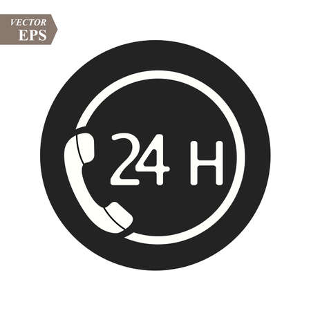 Call 24H icon. Vector illustration, flat design eps10 Ilustrace