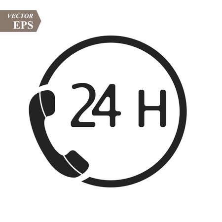 Call 24H icon. Vector illustration, flat design eps10 Illustration