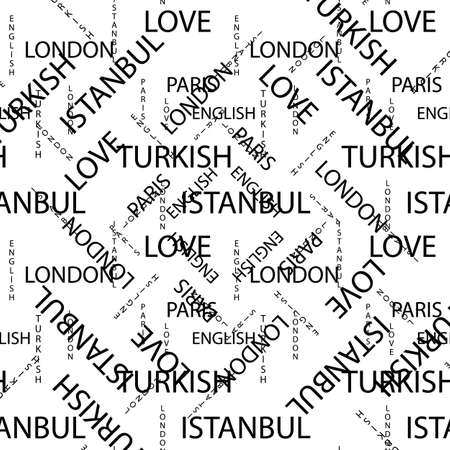 Seamless pattern made of handwritten text. English London Paris Turkish words and lettern written by hand in black and white colors. eps10 Ilustrace