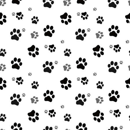 Dog paw seamless.Cat Paw Dog Paw kitten vector Seamless Pattern wallpaper background eps10