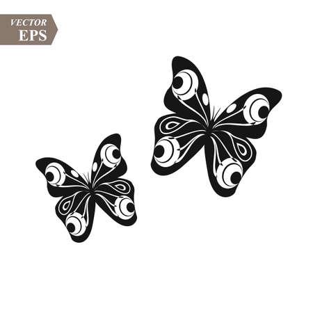 Black and white butterflies on white background. vector illustration eps10 Illustration