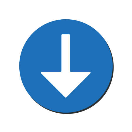 Arrow Down vector icon. This rounded flat symbol is drawn with white color on a blue background. eps10 Ilustrace