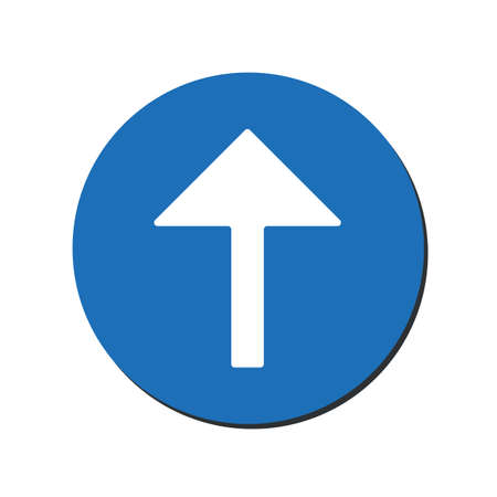 Arrow up vector icon. This rounded flat symbol is drawn with white color on a blue background. eps10